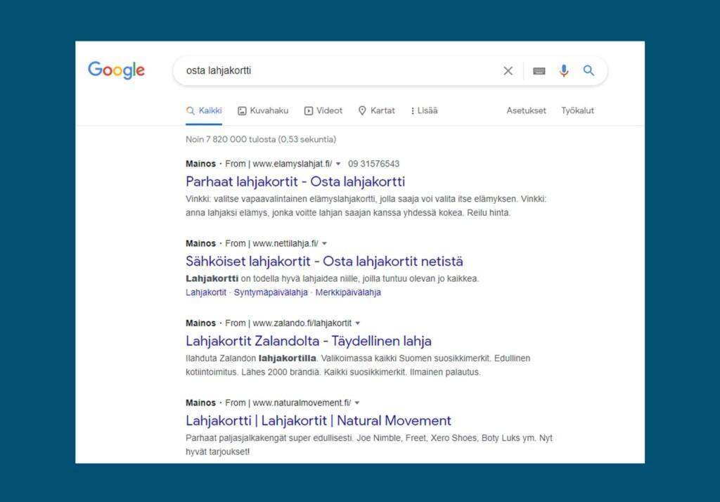 Google mainonta hakusanamainonta